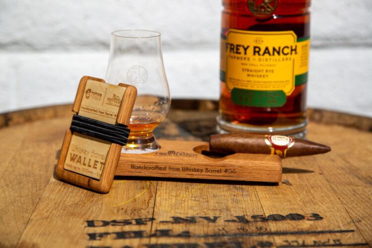 Whiskey Barrel Cigar /& Drink Tray
